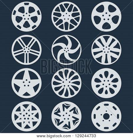 Vector aluminum car isolated wheel disks set.