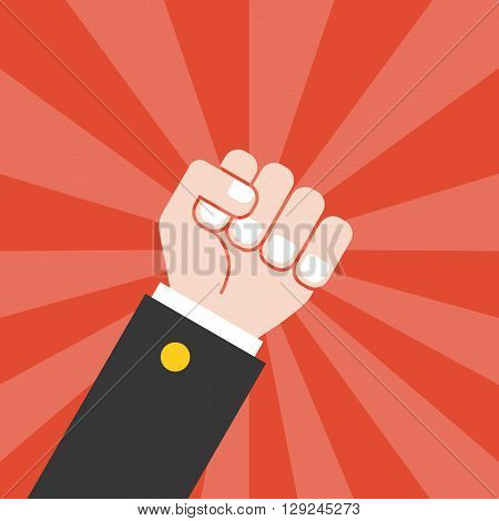 fist and sun ray background, flat design
