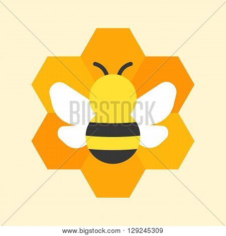 Bee on honeycomb icon, flat design on yellow background