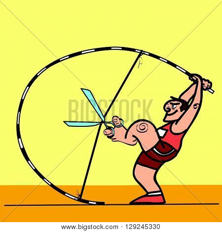 Doping sport cunning pole vaulter. Athlete pulls the pole like a bow. Sports benefits. athletics