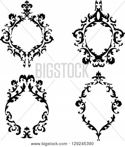 Ornate baroque frames set, EPS8 vector illustration