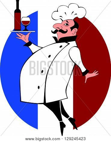 French chef bringing a bottle of wine