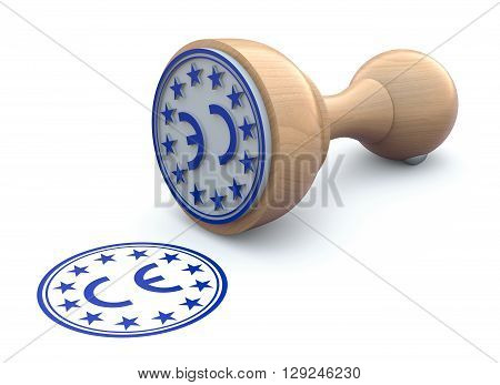 Rubber stamp with CE marking sign on white background  - 3d illustration