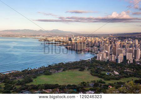 View on Waikiki beach and Honolulu in Hawaii from Diamond Head Trail