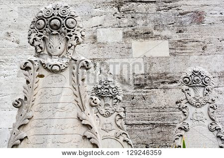 Ottoman engravement on stone of the tomb