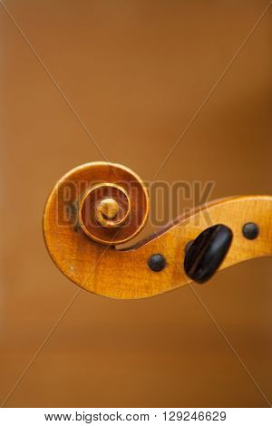 Old violin music concept with blurred background