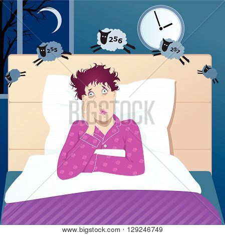 Middle aged woman with insomnia counting sheep