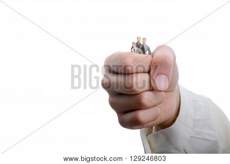 figurine model men in hand on a white background