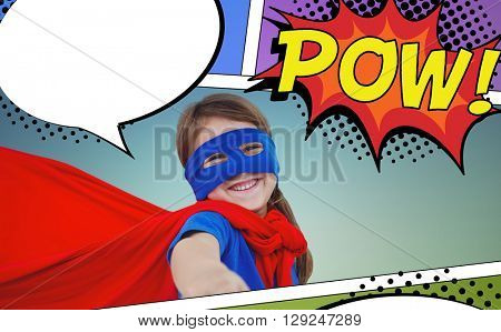 Smiling masked girl pretending to be superhero against the word pow