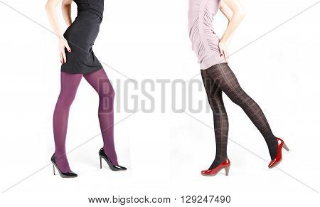 Woman's Legs Wearing Pantyhose and High Heels different colors