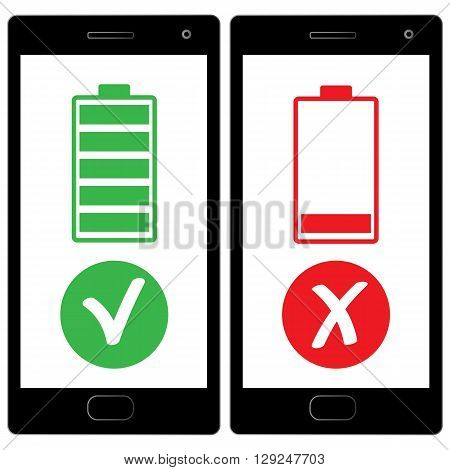 flat design, Smart phone charged battery  vector illustration life