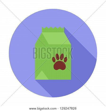 Pet food bag icon. Flat vector related icon with long shadow for web and mobile applications. It can be used as - logo, pictogram, icon, infographic element. Vector Illustration.