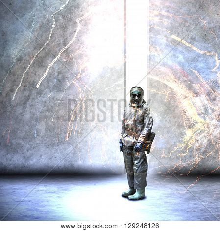 Soldier wearing a gas mask in disaster war and military concept