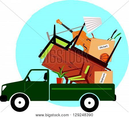 Pickup truck loaded with furniture, EPS8 vector illustration
