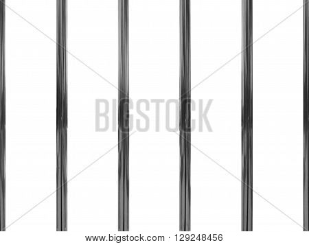 silver jail bars isolated on white background