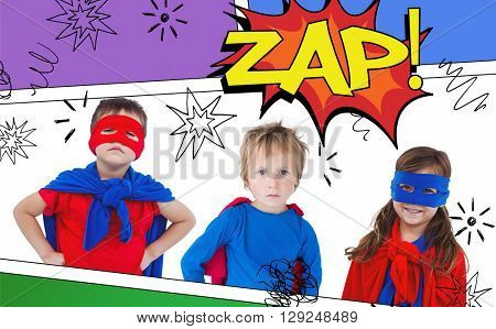 Children dressed as superman against the word zap