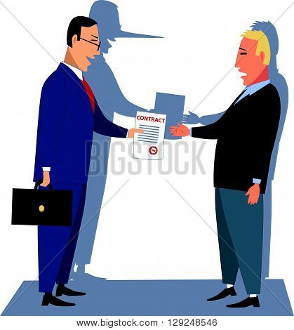 Misleading contract. Businessman handling a contract to a customer, his shadow showing a long liar's nose, vector illustration
