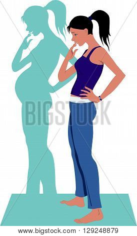 Woman wanting to get pregnant, EPS8 vector illustration