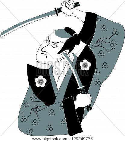 Samurai with two swords, EPS8 vector illustration