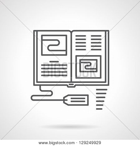 Open book with price tag. Educational literature in stores and internet. E-commerce. Selling books. Flat line style vector icon. Single design element for website, business.
