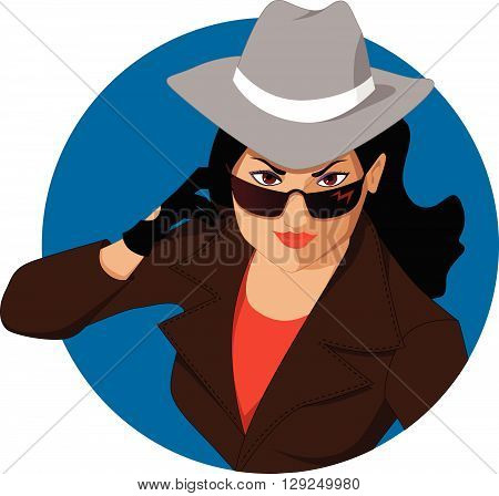 Woman in a hat and sunglasses, EPS8 vector illustration