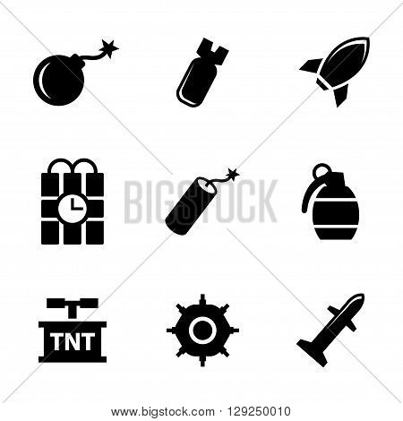 Vector black bomb icons set on white background. Rockets icons
