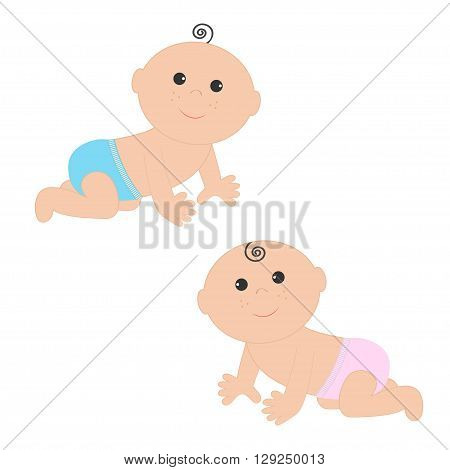 Cute baby boy and girl crawling in pink blue diaper icon set. Isolated. White background. Baby shower. Cartoon character. Flat design. Vector illustration