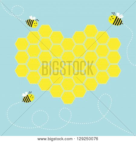 Yellow honeycomb set in shape of heart. Cute cartoon bee. Dash line in the sky. Beehive element. Honey icon. Love greeting card. Isolated. Blue background. Flat design. Vector illustration