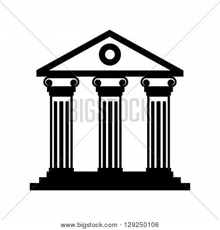 Vector black historical building icon on white background. Museum building icon.