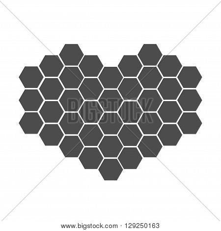 Black honeycomb set in shape of heart. Beehive element. Honey icon. Isolated. White background. Flat design. Flat design. Vector illustration