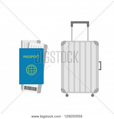 Suitcase icon. Travel baggage. Passport air boarding pass ticket with barcode. Luggage handbag. Summer vacation planning consept. Travelling tourism. Passenger case. Flat Isolated. White Vector