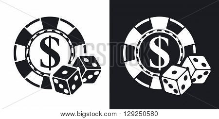 Vector Gambling chips with two dices icon. Two-tone version on black and white background