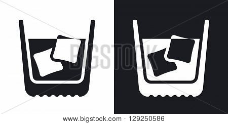 Glass of whiskey with ice. Vector icon. Two-tone version on black and white background
