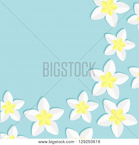 Plumeria Frangipani Tropical flower icon set. Hawaii Bali plant Flower frame. Blue background. Flat design Vector illustration