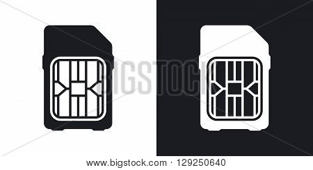 SIM card icon stock vector. Two-tone version on black and white background