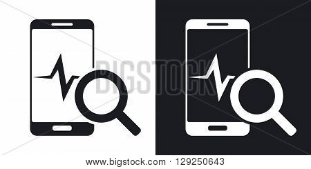 Vector smartphone diagnostics icon. Two-tone version on black and white background