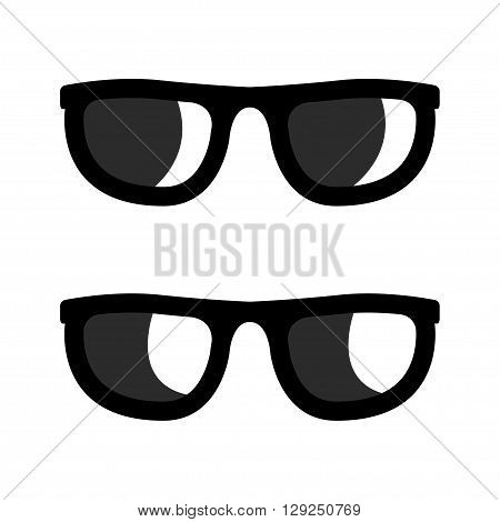 Vector black sunglasses icons set on whote background. Aviator sunglasses sign. Glasses Icon