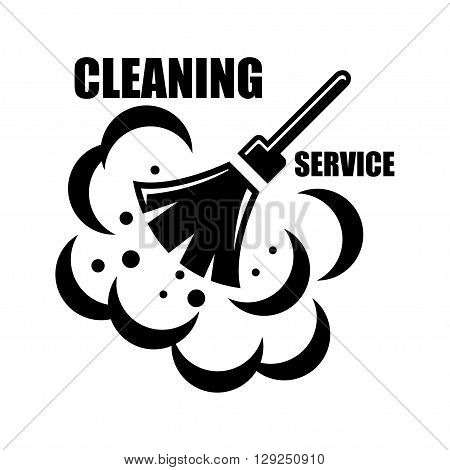 Vector cleaning service icon on white background. Cleaning service emblems labels and designed elements