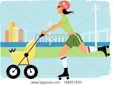 Woman jogging with a stroller in the city, EPS8 vector illustration