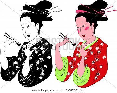 Japanese lady enjoying sushi EPS8 vector illustration