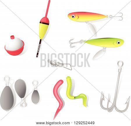 Fishing tackle: hook, sinker, bobber, bait, float