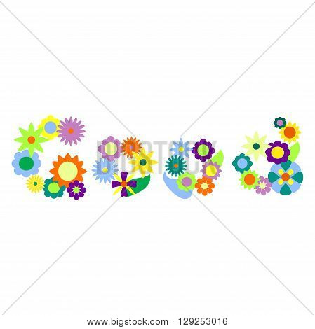 Good word made from colorful flowers vector illustration, good word with flower, floral word good, floral alphabet, positive thinking ornament, vector flower ornament, summer meadow ornament