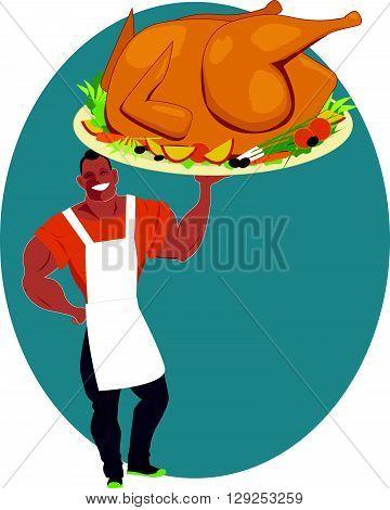 Man holding a huge roasted turkey on a platter