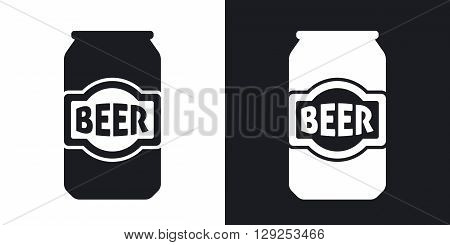 Beer can icon stock vector. Two-tone version on black and white background