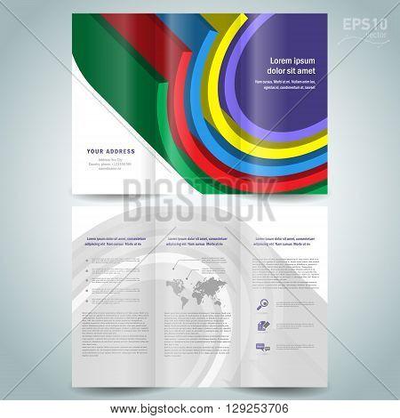 dimensional colored geometric 3d line brochure design template folder leaflet