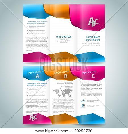 colored 3d brochure design template folder leaflet white background