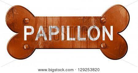 Papillon, 3D rendering, rough brown dog bone