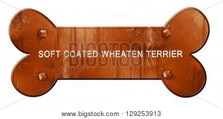 Soft coated wheaten terrier, 3D rendering, rough brown dog bone