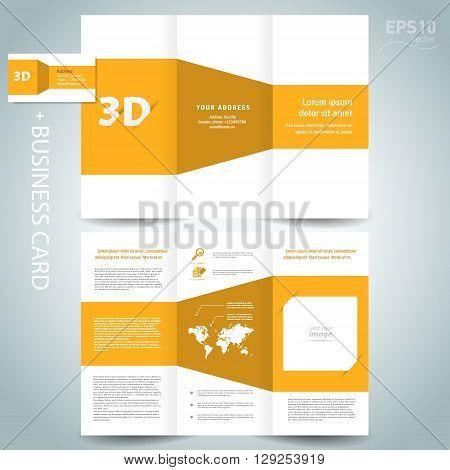 3d dimensional design brochure template folder leaflet yellow element white background