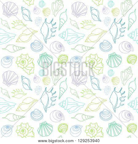 Vector sea shells - scallop, shell, conch and mollusk.  Seamless on white